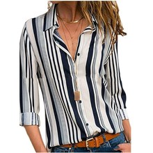 Fashion 2019 Summer Fall Women Office Work Shirt Turn-Down Collar Plus Size Long Sleeve Blouse Casual Button Striped Shirt все цены