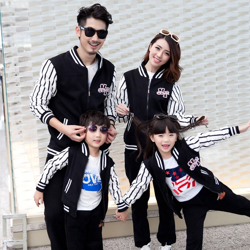 Family Matching Clothing Autumn Winter Dad Mom Kids Baseball Uniform Suit Sports Family Sets Children Causal Clothing Sets spring outfits for kids