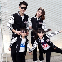 Family Matching Clothing Autumn Winter Dad Mom Kids Baseball Uniform Suit Sports Family Sets Children Causal Clothing Sets