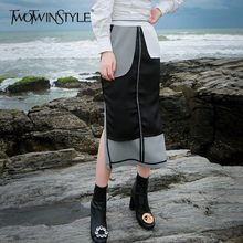 TWOTWINSTYLE Plaid Skirt Patchwork Hit Color Splitted Midi Skirts High Waist Tunic Autumn Fashion Casual Clothing Big Size 2019(China)