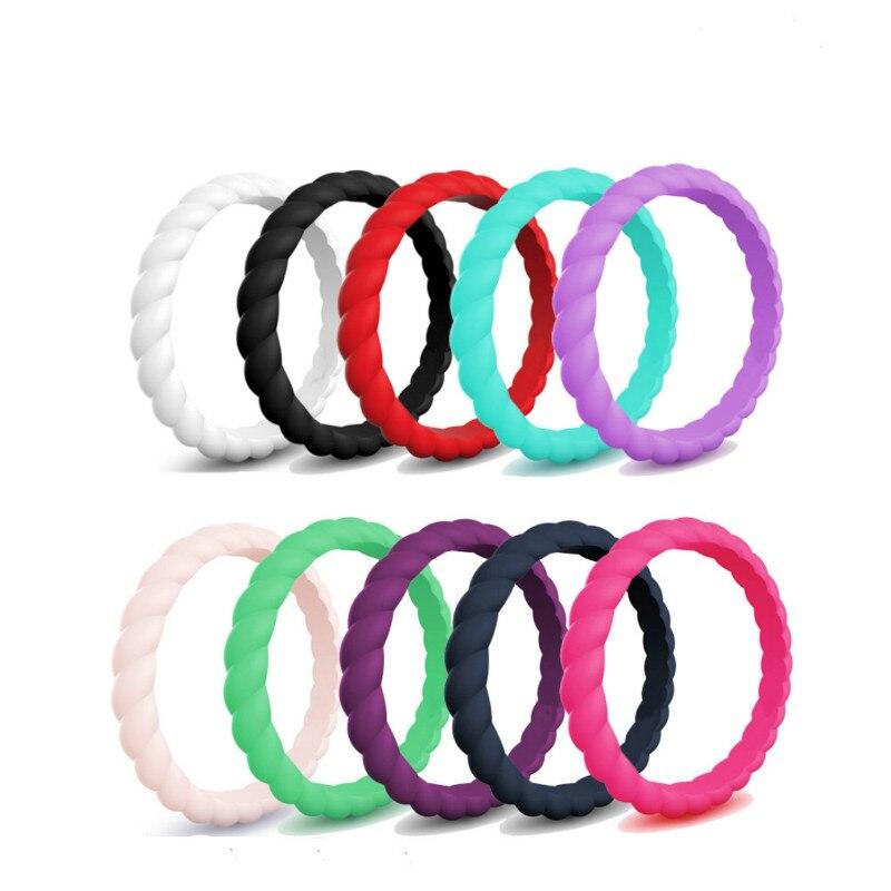 10 pçs/lote Crossfit Anéis de Dedo de Silicone Flexível Ambiental 3 milímetros Trança de Borracha Esporte Moda Anéis de Presente Tamanho 4 5 6 7 8 9 10