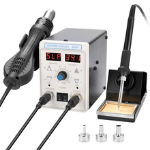 2 in 1 Multifunctional Hot Air Machine Soldering Iron Dual Display Rework Soldering Station Welding Set