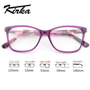 Image 3 - Kirka Purple Women Spectacles Frames Oversized Eyeglass Frames Clear Lens Glasses Optical Prescription Glasses Frame For Women