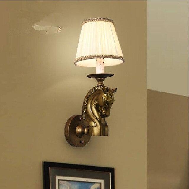 Moderne hars kunst wandlamp led lampen Retro paard hoofd Muur lampen ...
