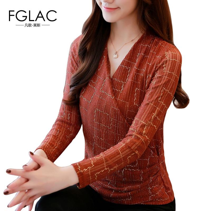 FGLAC Women   blouse     shirt   Fashion Casual long sleeve Autumn winter   blouse   Elegant Slim v-neck Plaid   shirt   plus size women blusas