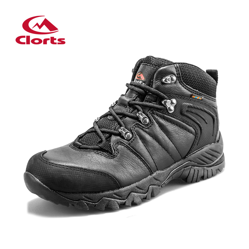 2016 Clorts Women <font><b>Men</b></font> Hiking Boots Lover Black Hunger Game Real Leather Outdoor Hiking <font><b>Shoes</b></font> Waterproof Sport Sneakers HKM-822D