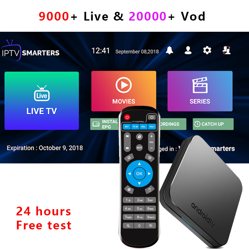 KM9 Android 9 0 TV box with USA UK Europe Arabic Canada IPTV subscription Poland Greece