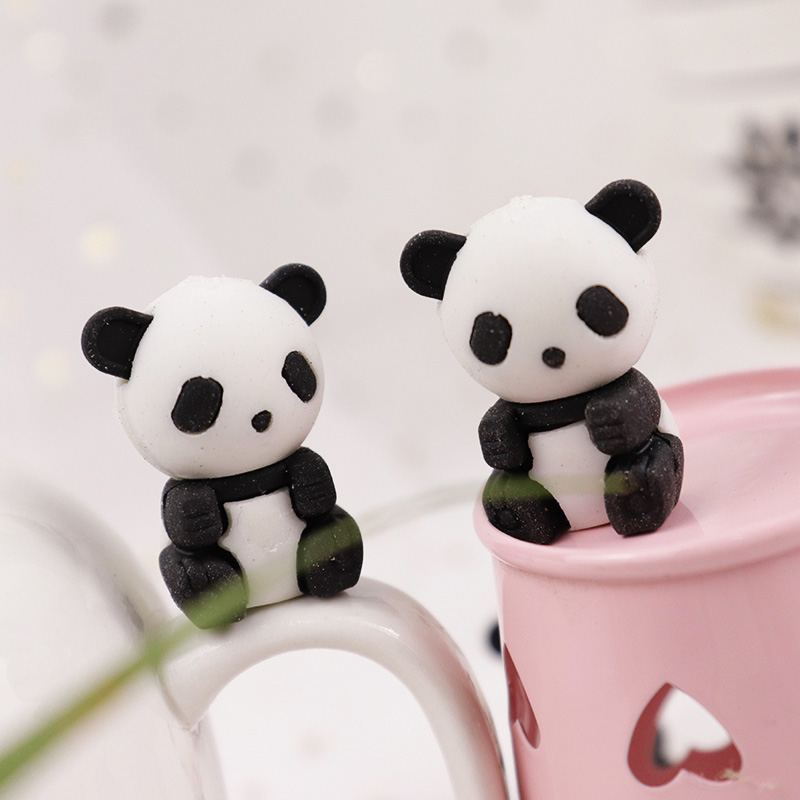 3pcs Cute Kawaii Cartoon Animal Panda Design Drawing Pencil Rubber Eraser Supplies School Stationery For Kids Toys Prize Gift