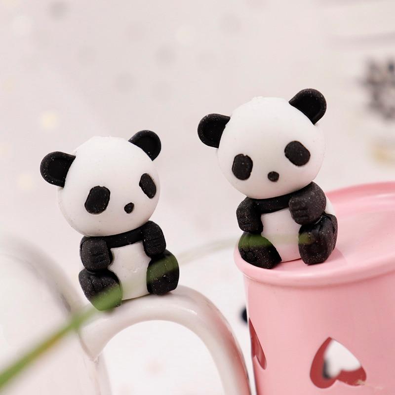 3pcs Cute Kawaii Cartoon Animal Panda Design Drawing Pencil Rubber