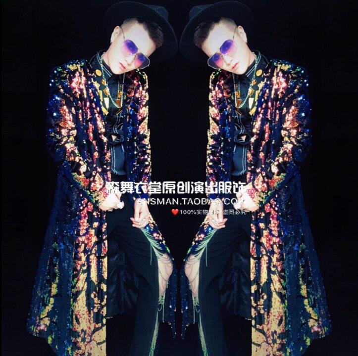 Mâle chanteur DJ discothèque Trench coat bar métal couleur magique longue veste hommes personnalité mode parapluie manteau hommes scène costume - 2