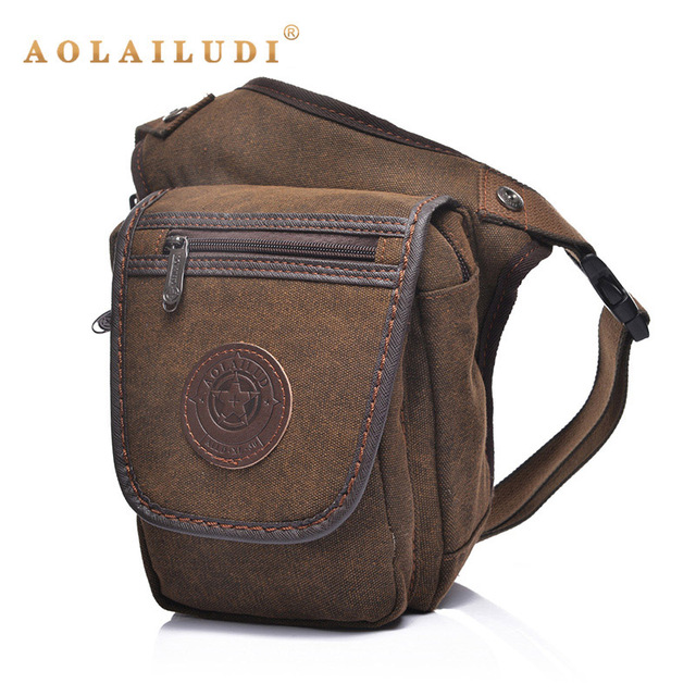 AOLAILUDI  2017 New Men's Canvas Drop Leg Bag Motorcycle Multi-purpose Bags Vintage Casul Messenger Bags Package Bags