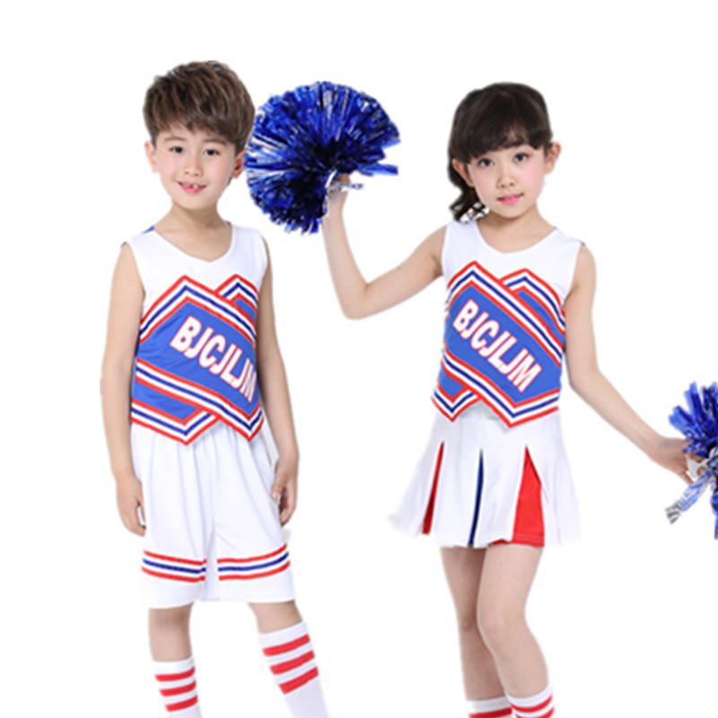 New Children Dance Costumes Children Cheerleader Costumes Girls Cheerleading Gymnastics Dress with Safety Pants