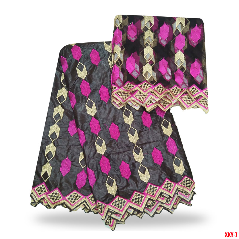 Brown Embroidered Tulle Lace Plaid Tissu Africain Bazin