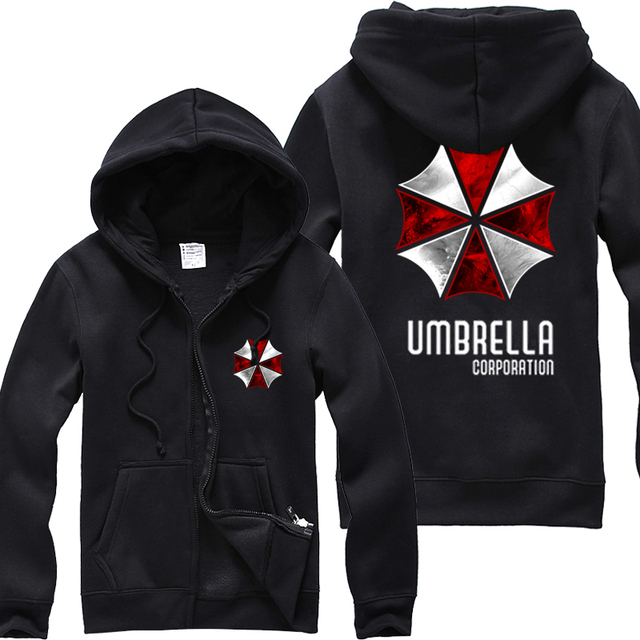 fc5f71df5 Mens Casual Resident Evil Umbrella Corporation Hoodie Zip Up Cardigan  Cotton Hooded Sweatshirt Coat Blck Color 2 Styles
