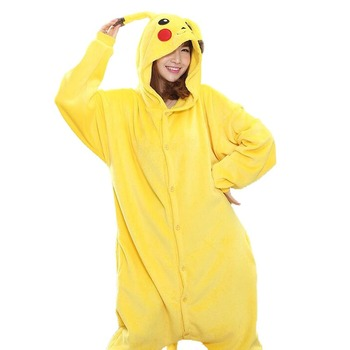 Kid Adult Pikachu Kigurumi Onesie Women Animal Costume Fancy Soft Anime Pokemon Cosplay Onepiece Child Boy Girl Winter Jumpsuit