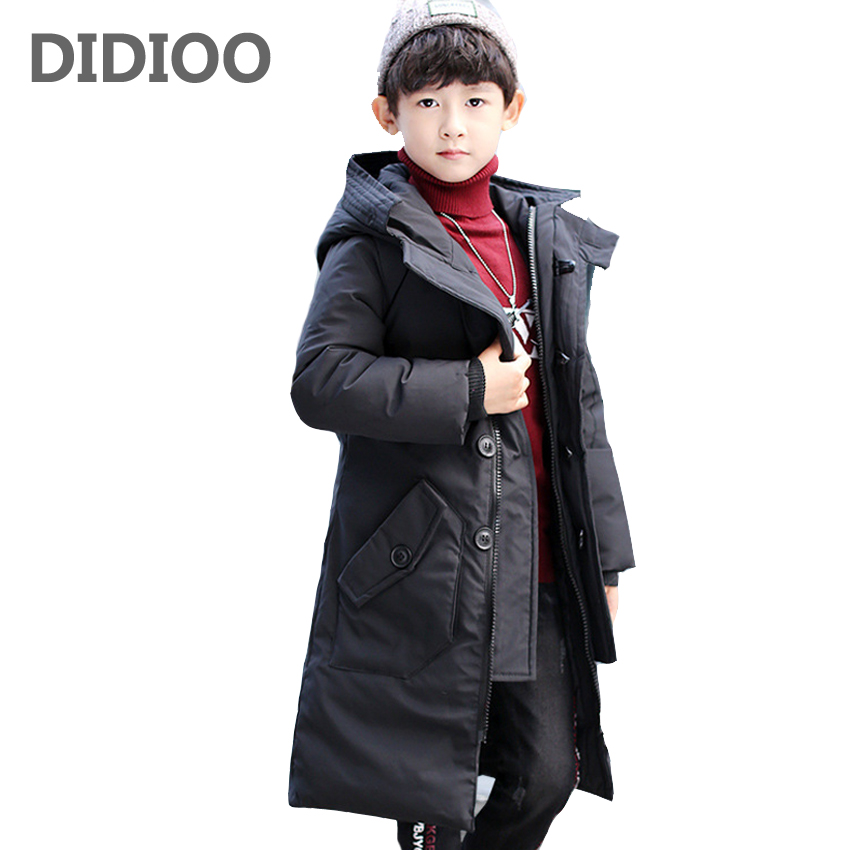 Boys Parkas Cotton-padded Coats for Kids Solid Long Outerwear Teenage Boys Warm Clothing Child Hooded Clothes 6 8 10 12 14 Years children winter coats jacket baby boys warm outerwear thickening outdoors kids snow proof coat parkas cotton padded clothes