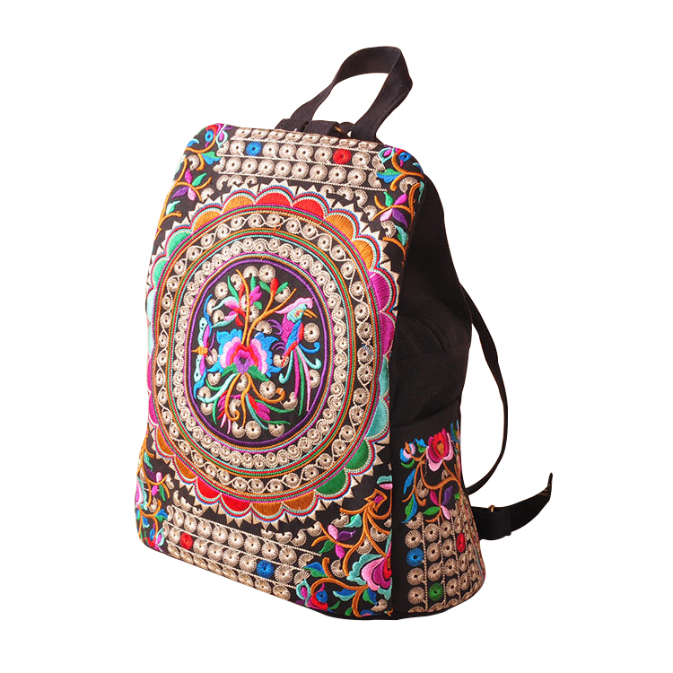 New Canvas Embroidery Ethnic Backpack Women Handmade Flower Embroidered Bag Travel Bags Schoolbag Backpacks Mochila