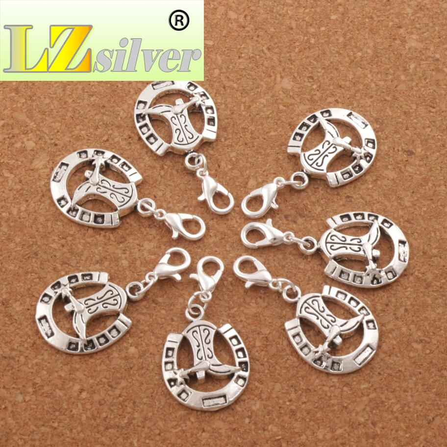 Image 2 - 100pcs Lucky Horseshoe with Cowboy Boot Lobster Claw Clasp Charm Beads 35.1x16mm Jewelry DIY C277-in Beads from Jewelry & Accessories