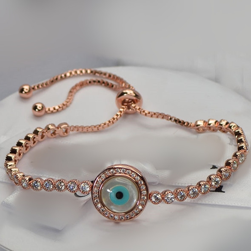 Adjule 925 Sterling Silver Rose Gold Blue Evil Eye Round Mother Of Pearl Bracelet With Aaa Cz Cubic Zirconia In Cuff Bracelets From Jewelry