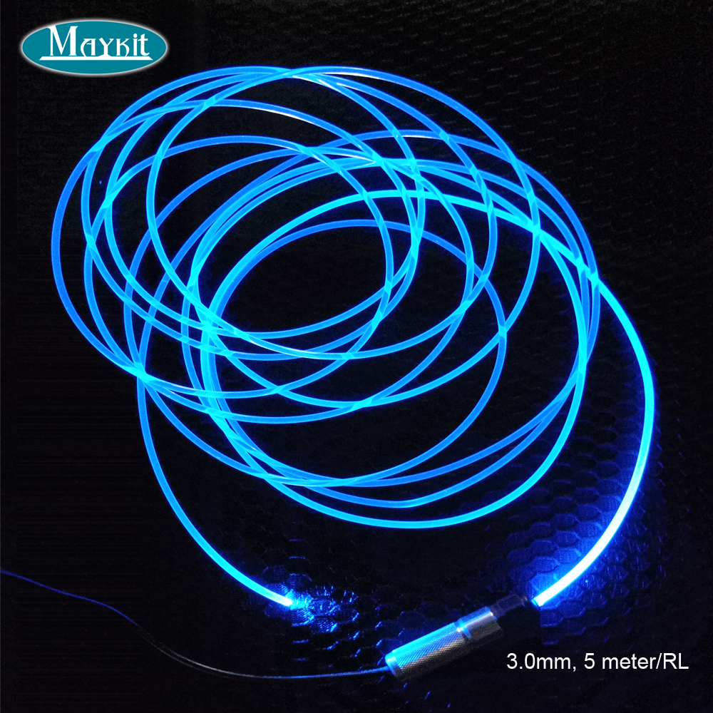 Maykit 5 meter 3.0mm Transparent Solid Side Glow Fiber Optic Cable For Car Light and home decoration