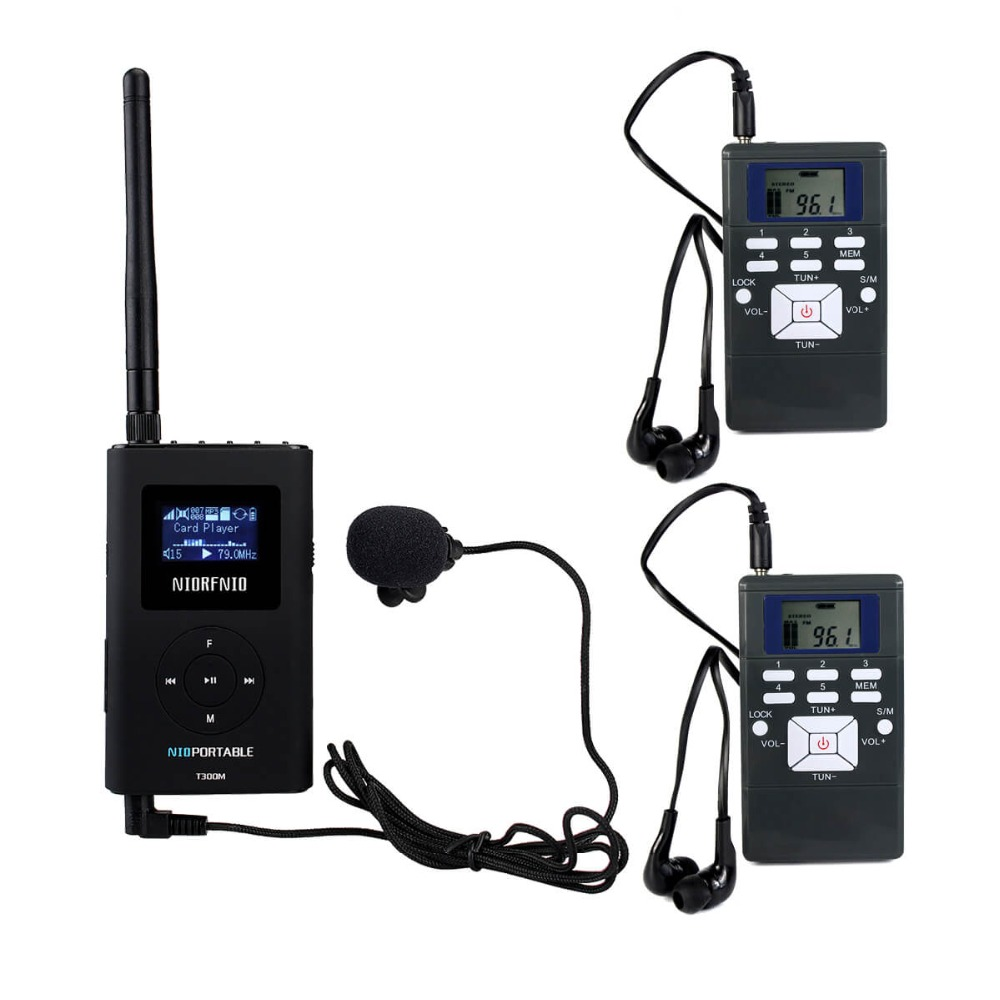 NIORFNIO 1 FM Transmitter+2 FM Radio Receiver Wireless Tour Guide System for Guiding Church Meeting Translation FM Radio Y4305A new restaurant equipment wireless buzzer calling system 25pcs table bell with 4 waiter pager receiver