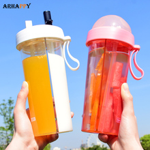 New Double Straws Water Drinking Bottle for Water Bottle wit