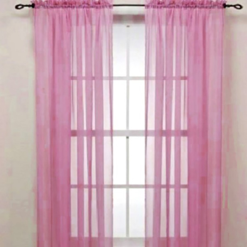 Curtain-Panel Voile Sheer Yellow Solid-Color Pink Window 100--200cm Hot-Selling title=