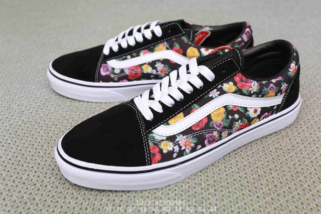 a5487454320570 New arrival Original VANS men and women classic Rose flower print OLD SKOOL  peanuts skate canvas sneakers size36-44