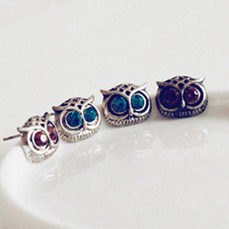 owl earrings for women Promotion Fashion Trendy Personality Cute Lovely Big Eye Owl Rhinestone Stud Earrings free shipping