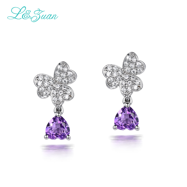 l&zuan 925 Sterling Silver 0.89ct Natural Amethyst Purple Stone Elegant Butterfly Stud Earring For Woman Gift