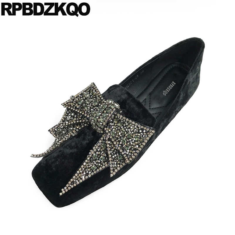 Green Rhinestone China Square Toe Velvet Crystal Flats Big Bow Loafers Retro Women Dress Shoes Fashion Beautiful European Latest japanese mary jane big bow flats soft suede black pointy women dress shoes ladies pointed toe cute 2018 kawaii velvet european