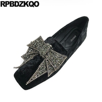 Green Rhinestone China Square Toe Velvet Crystal Flats Big Bow Loafers Retro Women Dress Shoes Fashion Beautiful European Latest
