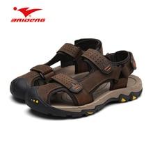 Марка Лето 2017 пляжные открытый сандалии пот absortbant жесткий-носить прохладно Hook & Loop мужские кожаные сандалии обувь