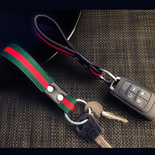 CDCOTN Car keychain Creative Hand-Woven Leather Rope For Men Womens Simple Waist Hanging Key Chain Pendant Decoration