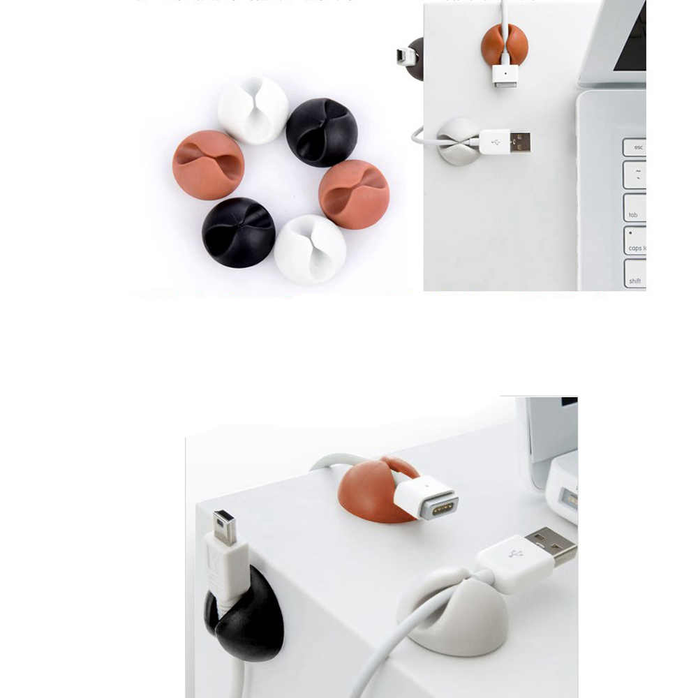 Round Clip phone Cable Winder Bobbin clamp protector Earphone Ties Organizer Wire Cord Fixer Holder