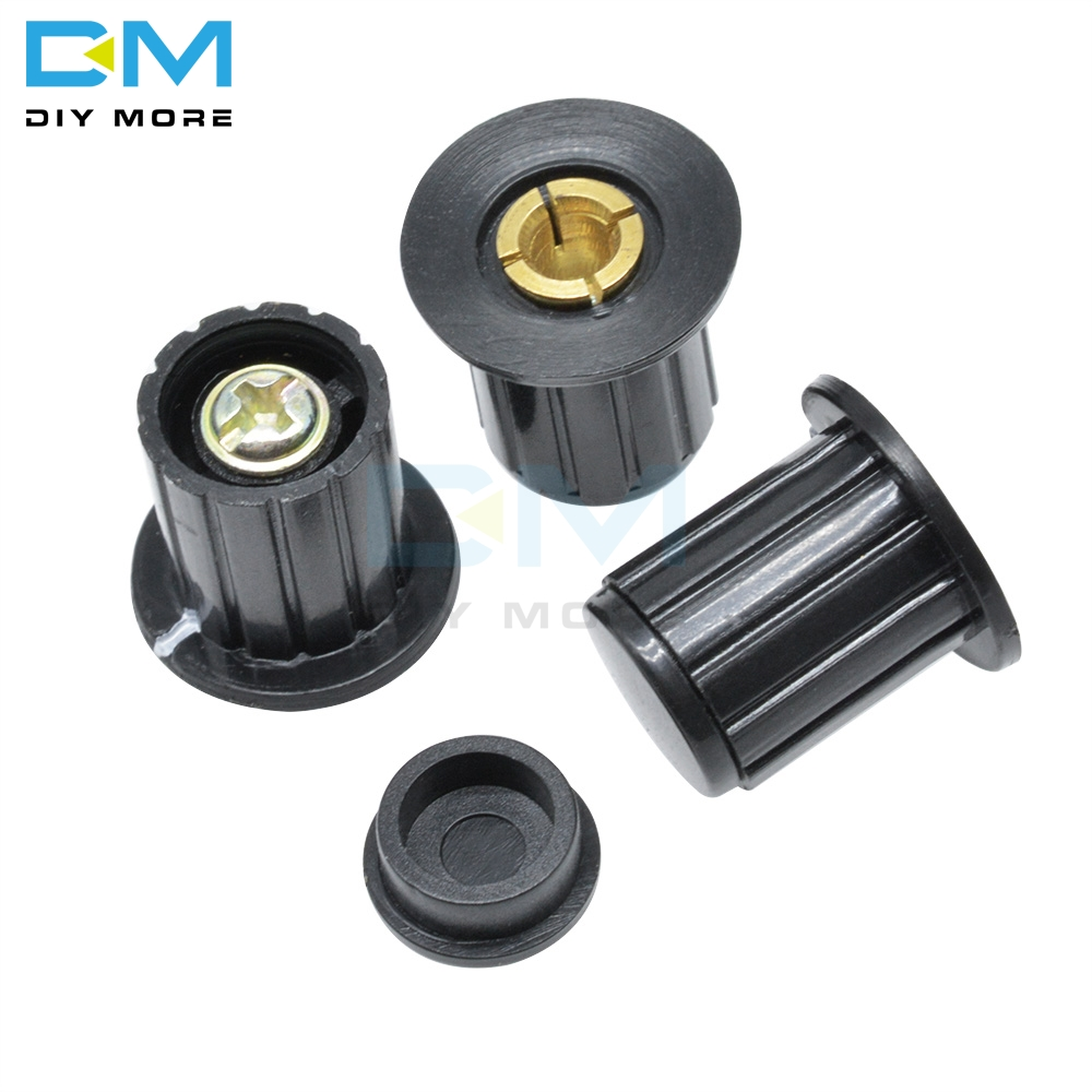 5PCS WXD3-13 WXD3-12 1W 2W Black Potentiometer Rotary Knob Adjustable Wirewound Potentiometer Cap 3590S Insert 4mm Plastic Metal