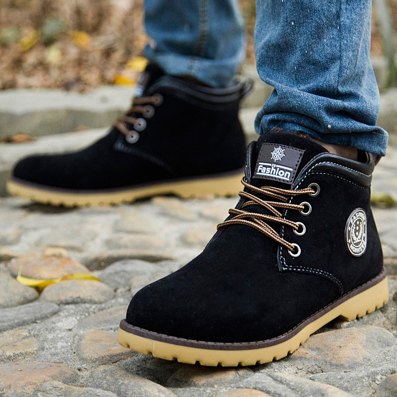 Brand Designer Men Boots 2016 Fashion Leather Suede Rubber Men ...