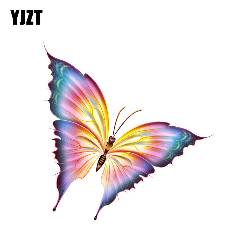 YJZT  10.7CM*11.2CM Interesting Flying Butterfly PVC Motorcycle Car Sticker 11-00670