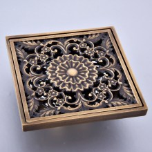 Antique Brass Vintage Retro Carved Flower Pattern Bathroom Shower Drain 4