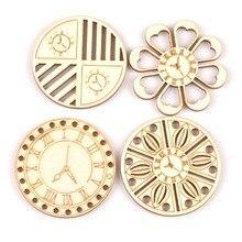 45 мм смешанные деревянные круглые часы ручной работы узор Скрапбукинг Diy ремесло для рукоделия украшение домашний декор 8 шт MT2138