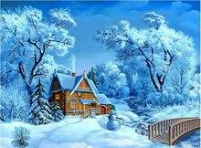 Heißer Verkauf 3d Diy Diamant Malerei Landschaft Kreuzstich Bild von Kristallen Strass Stickerei Winter Schnee Kunst Mazayka