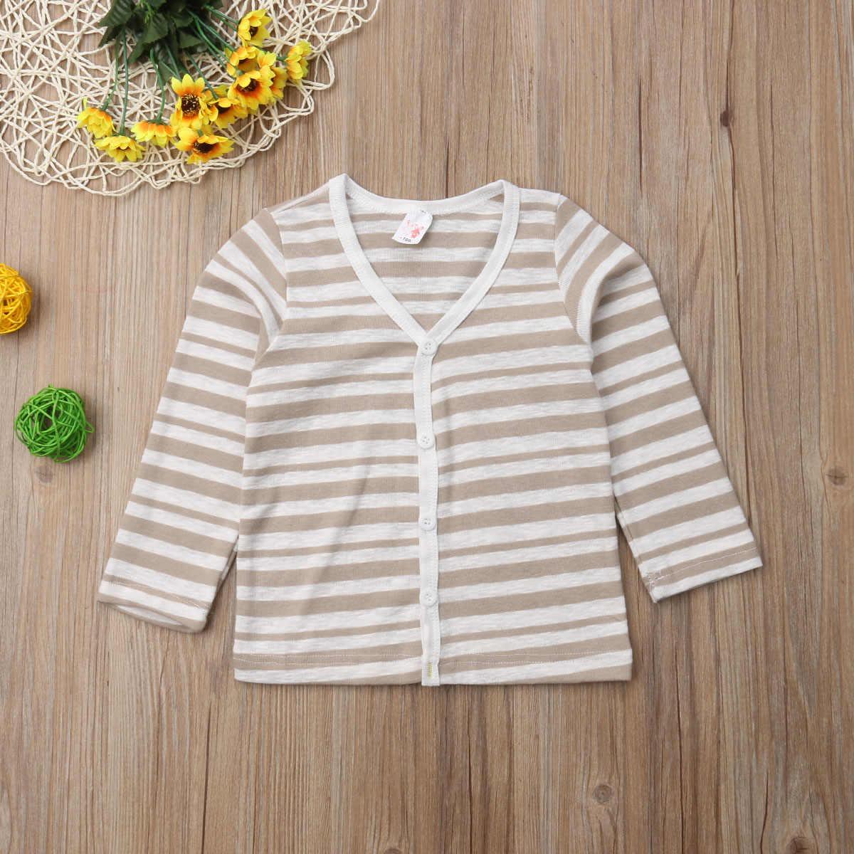 2018 חדש סתיו מזדמן תינוק תינוק בנות בני סרוג חולצות קרדיגן מעיל מוצק פסים ארוך שרוול יחיד חזה מעילי 1-6Y