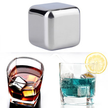 5 pcs/lot Newest Whiskey Stainless steel Stones Whisky ice cooler for Whiskey beer Bar household Wedding Gift Favor Christmas whiskey whisky
