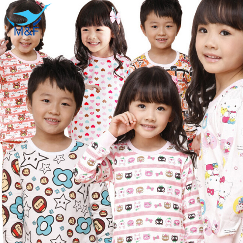 2017 High Quality Cute Boy and Girl Underwear Suit Pure Cotton Cartoon Kids Pajamas Sets 20 Styles Childrens Clothing Sets