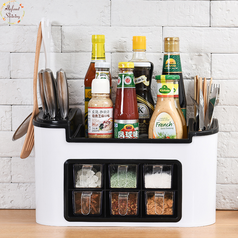 Cordial Shining Spice Rack Kitchen Shelf Tools Box Spice Jar Storage Rack Chopsticks Cutter Storage Box Large Capacity