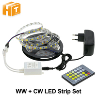 Double Color LED Strip 5025/2835 Warm White with Cold White 5M Strip + Color Temperature Controller + DC12V 3A Power Adapter
