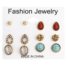 6 Pairs / Set Bohemian Jewelry Crystal Earrings Female Geometric Shining Blue White Wedding Bride