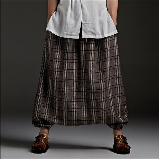 Оригинальный коричневый летом 1 панк плед шаровары мужей несвязанных низкосортные мешковатые штаны случайные дизайнер персонализированные певица улице