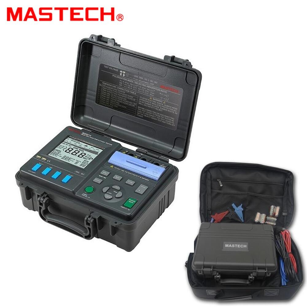Mastech Ms5215 High Voltage Digital Insulation Tester Stopwatch 060sec Circuit Megometro Megger 250v5kv 3ma Temp 10 70c