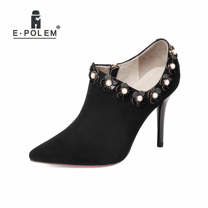 Floral Female Kid Suede High Heel Shoes Genius Leather Martin Boots Punk Ankle Boots Thin Heels Women Pointed Toe Booties floral female kid suede high heel shoes genius leather martin boots punk ankle boots thin heels women pointed toe booties